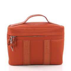 Hermes Acapulco Vantiy Bag Toile with Leather Orange 3694074