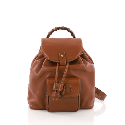 e0af1bb1481 Gucci Vintage Bamboo Backpack Leather Mini Brown 3694306 – Rebag