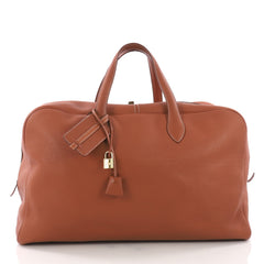 Hermes Victoria II Travel Bag Clemence 50 Brown 3694312