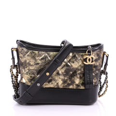 Chanel Model: Gabrielle Hobo Quilted Crumpled Goatskin Small Black 36949/02