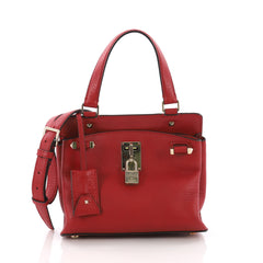 Valentino Joy Lock Top Handle Bag Leather Small Red 3696303