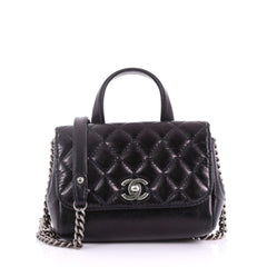 Double Side Flap Crossbody Bag Quilted Glazed Calfskin Mini