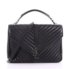 Saint Laurent Classic Monogram College Bag Matelasse Black 3697401