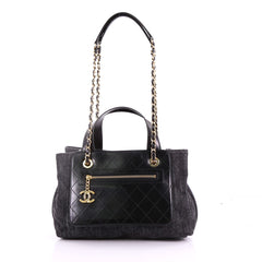 Chanel Shopping Tote Denim with Quilted Aged Calfskin Medium Black 3697612