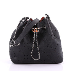 Chanel CC Drawstring Bucket Bag Perforated Caviar Medium Black 3699503
