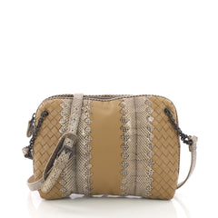 Chain Crossbody Bag Intrecciato Nappa and Snakeskin Small