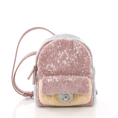 Chanel Waterfall Backpack Sequins with Leather Mini Pink 370041