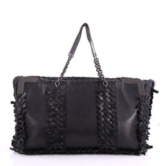 0f73a384cf Bottega Veneta Chain Tote Leather with Fringe Intrecciato Black 370081