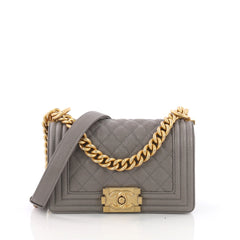 Chanel Model: Boy Flap Bag Quilted Caviar Small Gray 37014/2