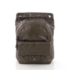 f1013ceafa7c Chanel Drawstring CC Flap Backpack Quilted Lambskin Small 370202
