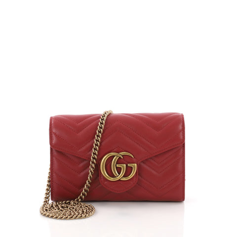 a4fbc66a829 Gucci GG Marmont Chain Wallet Matelasse Leather Mini Red 370311 – Rebag