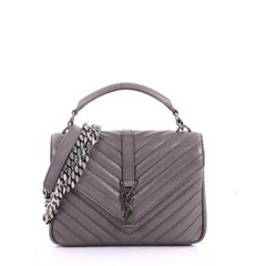 Saint Laurent Classic Monogram College Bag Matelasse Chevron Leather Medium Gray 370331