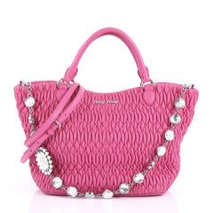 Miu Miu Crystal Tote Matelasse Leather Medium Pink 370382