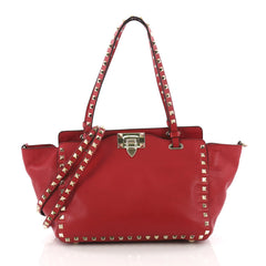 Valentino Rockstud Tote Soft Leather Small Red 370453
