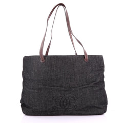 Chanel Vintage CC Logo Tote Denim Large Black 370646
