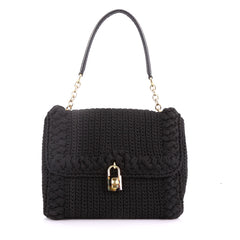 Dolce & Gabbana Miss Bonita Satchel Knit Wool Medium Black 370732