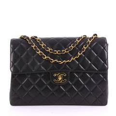 Chanel Vintage Square Flap Bag Quilted Lambskin Jumbo 3707737