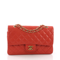 Chanel Model: Vintage Classic Double Flap Bag Quilted Lambskin Medium Red 37077/44