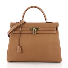 Hermes Kelly Handbag Brown Ardennes with Gold Hardware 35 Brown 3707745