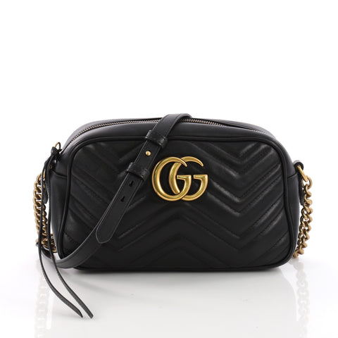 61d0e2c8f9a Gucci GG Marmont Shoulder Bag Matelasse Leather Small Black 3707817 – Rebag