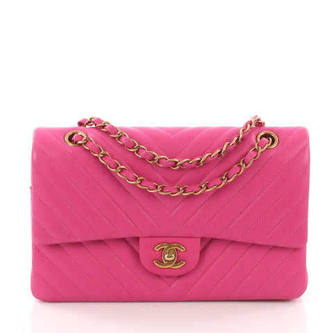 4073e6312f Chanel Classic Double Flap Bag Chevron Lambskin Medium Pink 370781 – Rebag