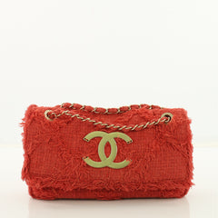 Chanel Nature Flap Bag Quilted Tweed Medium Red 3707913