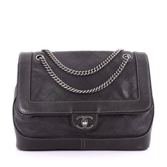 Chanel Model: Aged Chain Flap Bag Quilted Caviar Medium  Black 37079/7