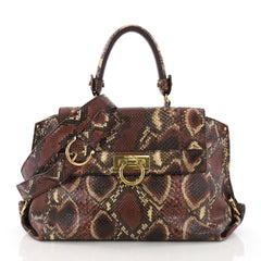 Salvatore Ferragamo Sofia Satchel Python Medium Purple 370801