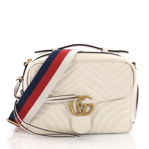 3215f04b7c9964 Gucci GG Marmont Zip Around Camera Bag Matelasse Leather 371041 – Rebag