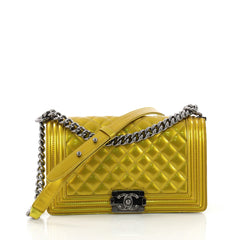 Chanel Model: Boy Flap Bag Quilted Patent Old Medium  Yellow 37108/1