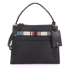 Valentino My Rockstud Satchel Leather with Beaded Detail Black 371132