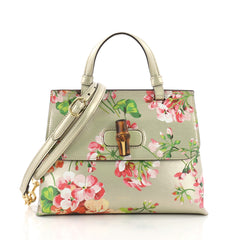 Gucci Bamboo Daily Top Handle Bag Blooms Print Leather 371148