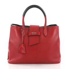 Prada Ribbon Tote City Calfskin Medium Red 3711722