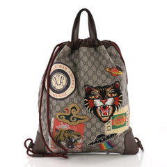Gucci Courrier Soft Drawstring Backpack GG Coated Canvas with Applique  Medium Brown 371172 05bef99ce6