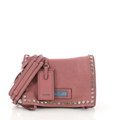 Etiquette Flap Bag Studded Glace Calfskin Small