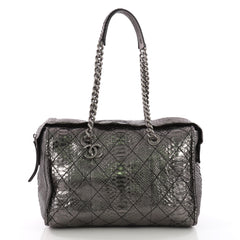 Chanel Aged Chain CC Charm Bowling Bag Quilted Python Large Silver 371421
