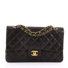 Chanel Vintage Classic Double Flap Bag Quilted Lambskin Medium Black 371561