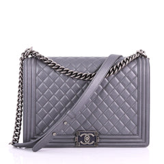 Chanel Boy Flap Bag Quilted Calfskin Large Gray 371661