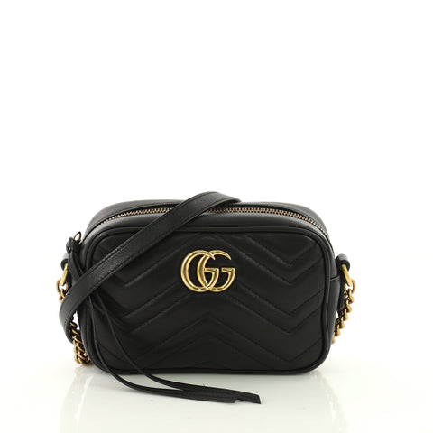 d340a8d6259 Gucci GG Marmont Shoulder Bag Matelasse Leather Mini Black 371911 – Rebag
