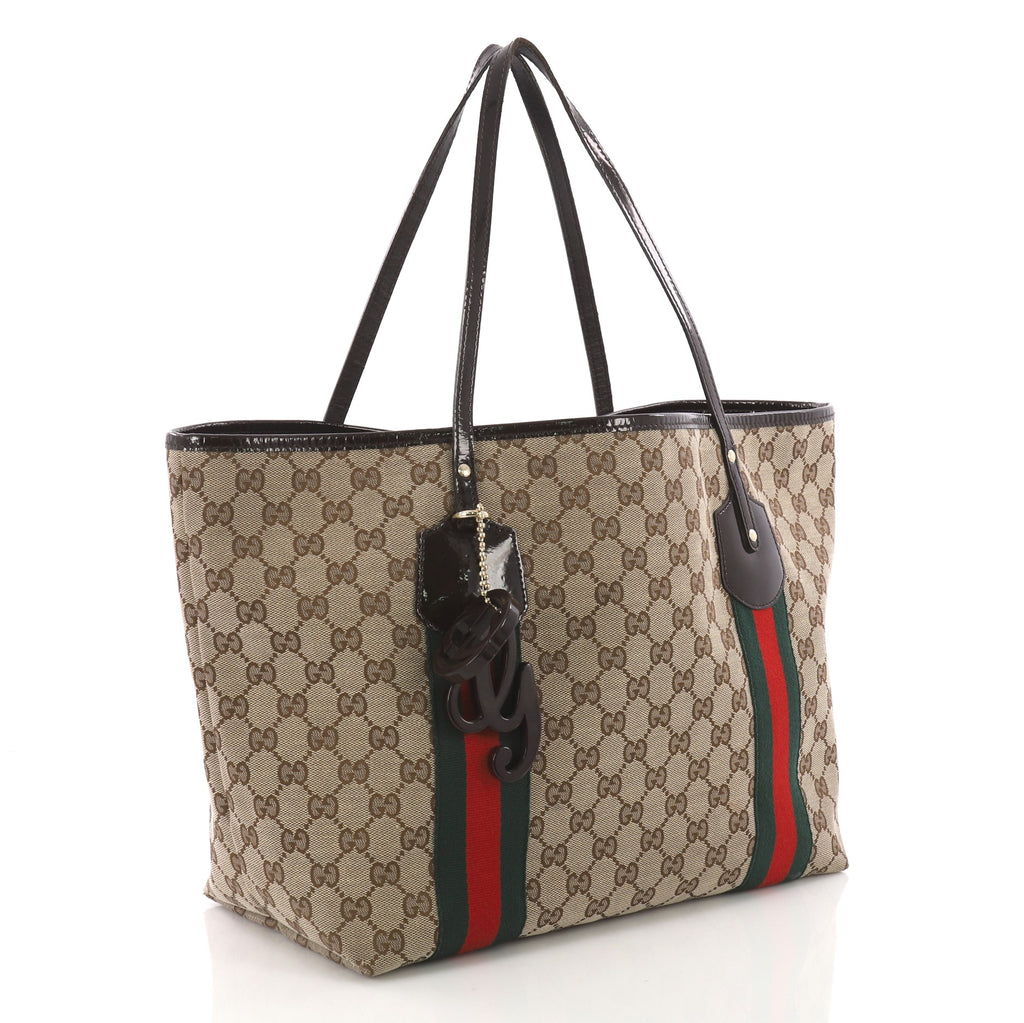 66d671ff6598 Gucci Jolie Web Tote GG Canvas Large Brown 371961 – Rebag