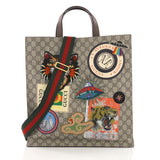 Courrier Convertible Soft Open Tote GG Coated Canvas with Applique North South