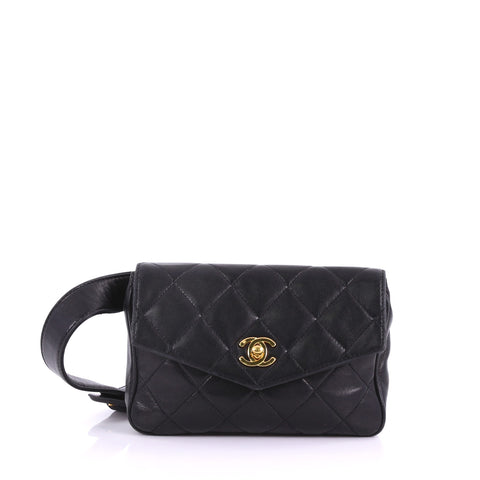 7e885dbf452e Chanel Vintage CC Flap Waist Bag Quilted Leather Small Black 372032 – Rebag