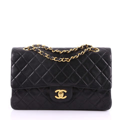 Chanel Vintage Classic Double Flap Bag Quilted Lambskin Medium Black 372101