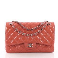 Chanel Classic Double Flap Bag Quilted Patent Jumbo Pink 372131
