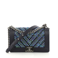 Chanel Boy Flap Bag Chevron Tweed and Rhinestones Old Medium Blue 372267