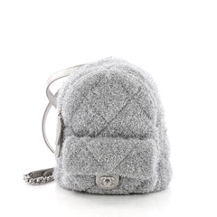 Chanel CC Pocket Backpack Quilted Knit Pluto Glitter Mini Silver 372371