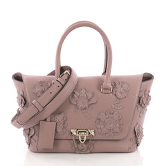 Valentino Demilune Flap Satchel Leather with Studded Applique Small Pink 372458