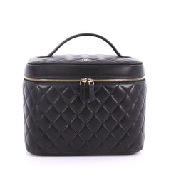Chanel Model: Cosmetic Case Quilted Lambskin Medium  Black 37266/1