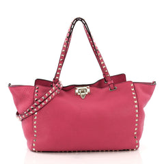 Valentino Rockstud Tote Pebbled Leather Medium Pink 372984