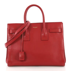 Saint Laurent Sac de Jour Handbag Leather Small Red 373011
